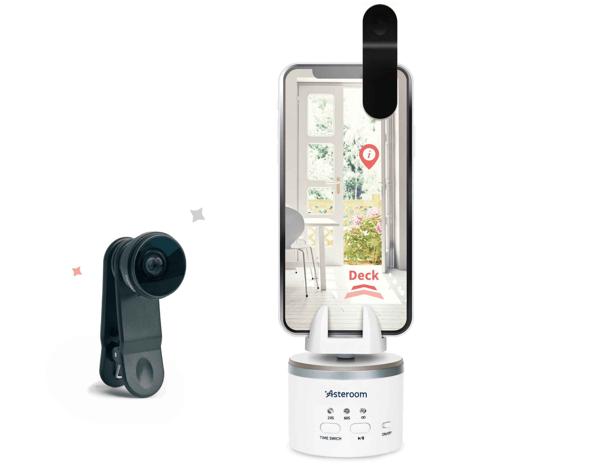 Attach Asteroom's Pano Kit on your phone to take 360-degree panoramas with your phone's camera lens.